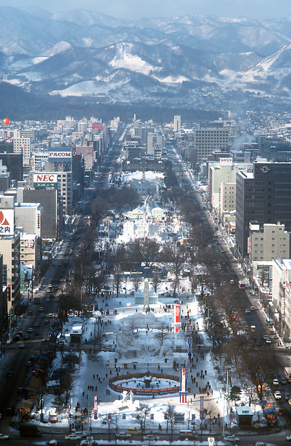 Aerial, Snow Sculptures, Sapporo, Japan