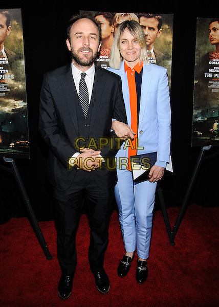Derek Cianfrance & guest.'The Place Beyond The Pines' New York Premiere, New York, New York, USA..March 28th, 2013.full length black orange shirt clutch bag blue shirt tie suit beard facial hair .CAP/ADM/MSA.©Mario Santoro/AdMedia/Capital Pictures.