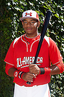 First baseman Domonic Smith #22 of Serra High School in Los Angeles, California poses for a photo before participating in the Under Armour All-American Game powered by Baseball Factory at Wrigley Field on August 18, 2012 in Chicago, Illinois.  (Mike Janes/Four Seam Images)