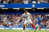Enda Stevens of Sheffield United heads the ball during the Premier League match between Chelsea and Sheff United at Stamford Bridge, London, England on 31 August 2019. Photo by Carlton Myrie / PRiME Media Images.