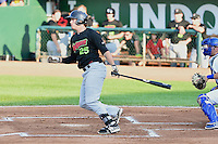 Patrick Palmeiro (25) of the Great Falls Voyagers at bat against the Ogden Raptors in Pioneer League action at Lindquist Field on July 18, 2014 in Ogden, Utah.  (Stephen Smith/Four Seam Images)