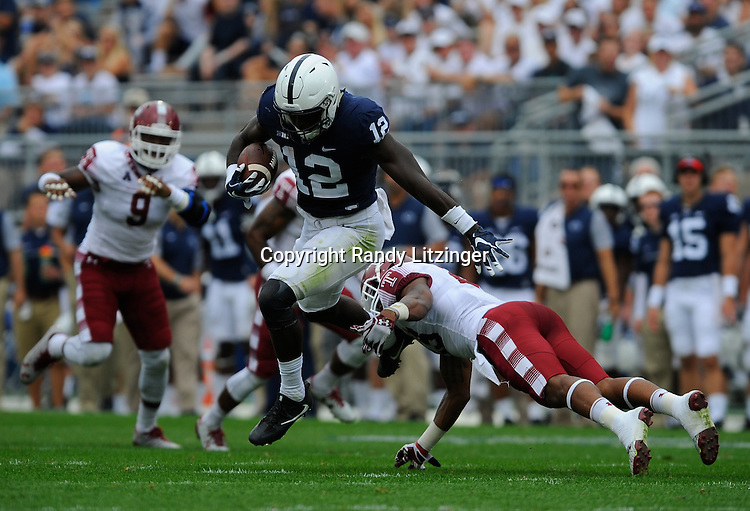 17 September 2016:  Penn State WR Chris Godwin (12) avoids a tackle after a catch. The Penn State Nittany Lions defeated the Temple Owls 34-27 at Beaver Stadium in State College, PA. (Photo by Randy Litzinger/Icon Sportswire)