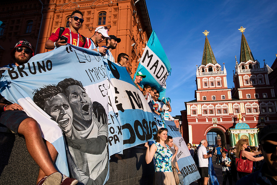 Moscow, Russia, 15/06/2018.<br /> Argentina supporters in central Moscow during the 2018 FIFA World Cup.
