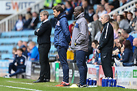 Pep Clotet (Manager) of Oxford United (2nd left) looks on during the Sky Bet League 1 match between Peterborough and Oxford United at the ABAX Stadium, London Road, Peterborough, England on 30 September 2017. Photo by David Horn.
