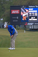 Richy Werenski (USA) watches his putt on 1 during Round 3 of the Valero Texas Open, AT&T Oaks Course, TPC San Antonio, San Antonio, Texas, USA. 4/21/2018.<br /> Picture: Golffile | Ken Murray<br /> <br /> <br /> All photo usage must carry mandatory copyright credit (© Golffile | Ken Murray)