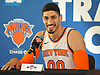Enes Kanter #00 of the New York Knicks jokes as he speaks during the team's Media Day held at Madison Square Garden Training Center in Greenburgh, NY on Monday, Sept. 25, 2017.