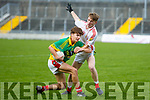 Lee Strand U16 County District Championship Football Cup Final East Kerry V West Kerry. West Kerry's Coilin O'Muircheartaigh and East Kerry's Killian Buckley  at Austin Stacks Park on Sunday