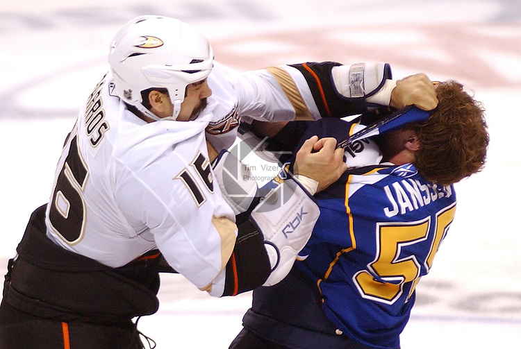 February 19,  2011       Anaheim Ducks right wing George Parros (16) and St. Louis Blues right wing Cam Janssen (55) fight early in the first period. The St. Louis Blues hosted the Anaheim Ducks on Saturday February 19, 2011 at the Scottrade Center in downtown St. Louis.