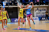 Pulse&rsquo; Whitney Souness and Steel's Wendy Frew in action during the ANZ Premiership - Pulse v Steel at Te Rauparaha Arena, Porirua, New Zealand on Wednesday 30 May 2018.<br /> Photo by Masanori Udagawa. <br /> www.photowellington.photoshelter.com