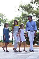 King of Spain Felipe VI, Queen of Spain Letizia Ortiz, Princess Leonor (2R) and Princess Sofia (L)