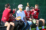 Custard Pie challenge during the filming of Nicks Kicks for the Nickelodeon channel at the Sheffield Utd training session at the Shirecliffe Training Complex , Sheffield. Picture date: September 29th, 2016. Pic Simon Bellis/Sportimage