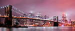 Panoramic photo of the the Brooklyn Bridge as seen from Brooklyn.  The bridge is 1595.5 feet long and was completed in 1883.  It is a National Historic Landmark that connects Manhattan and Brooklyn by spanning the East River.