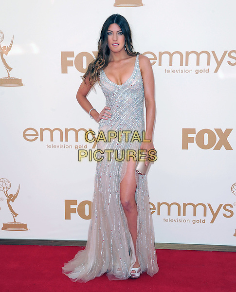 Jennifer Carpenter.15th Annual Entertainment Tonight Emmy Party held at Vibiana, Los Angeles, California, USA..September 18th, 2011.emmys full length dress white silver hand on hip sequins sequined clutch bag slit split .CAP/RKE/DVS.©DVS/RockinExposures/Capital Pictures.