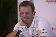 Gainesville, VA - July 28, 2015: PGA golfer Billy Hurley III makes an emotional, tear filled, plea for help in locating his missing father during a media availability for the Quicken Loans National at the Robert Trent Jones Golf Club in Gainesville, VA, July 28, 2015. Hurley's father, a former police officer and Leesburg, VA resident, went missing July 19, 2015.  (Photo by Don Baxter/Media Images International)