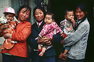 September, 1985. Shaanxi Province, China. Women and children in the area of Wuqi.