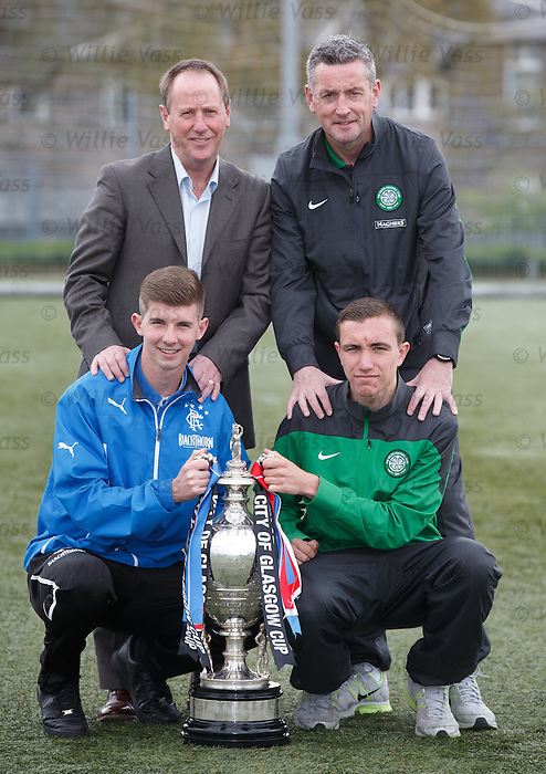 Glasgow cup final preview: Rangers and Celtic coaches Jim Sinclair and Tommy McIntyre with captains David Brownlie and Joe Thompson