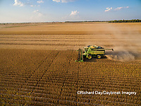 63801-09106 Soybean Harvest, John Deere combine harvesting soybeans - aerial - Marion Co. IL