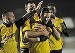 2015-10-17 / voetbal / seizoen 2015-2016 / Lille - Nijlen / Kjell Ven (voor) (Lille) heeft zojuist met een knap afstandsschot gescoord en wordt gefeliciteerd door zijn ploegmaats