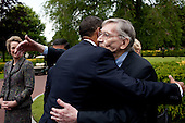 Normandy, France - June 6, 2009 -- United States President Barack Obama embraces his great uncle Charles Payne following the President's speech at the 65th anniversary of the D-Day invasion in Normandy, France, Saturday, June 6, 2009. .Mandatory Credit: Pete Souza - White House via CNP