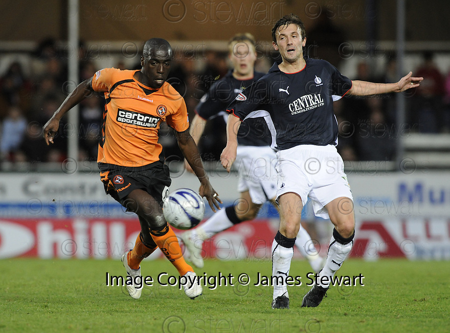 01/11/2008  Copyright Pic: James Stewart.File Name : sct_jspa18_falkirk_v_dundee_utd.KEVIN MCBRIDE GETS THE BALL AWAY FROM MORGARO GOMIS.James Stewart Photo Agency 19 Carronlea Drive, Falkirk. FK2 8DN      Vat Reg No. 607 6932 25.Studio      : +44 (0)1324 611191 .Mobile      : +44 (0)7721 416997.E-mail  :  jim@jspa.co.uk.If you require further information then contact Jim Stewart on any of the numbers above.........