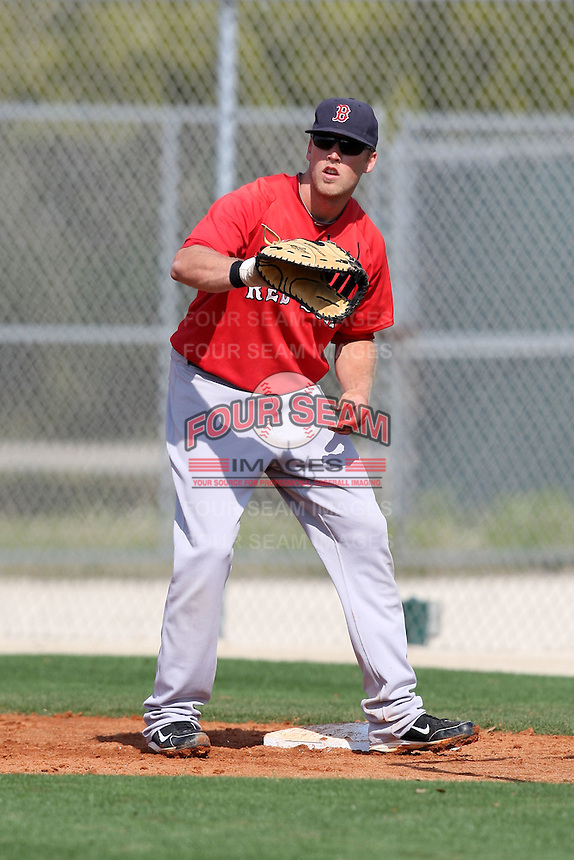 March 18, 2010:  First Baseman Lars Anderson of the Boston Red Sox organization during Spring Training at Ft.  Myers Training Complex in Fort Myers, FL.  Photo By Mike Janes/Four Seam Images