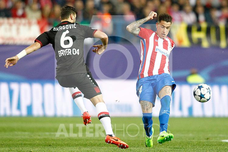 Atletico de Madrid's Jose Maria Gimenez (r) and Bayer 04 Leverkusen's Aleksandar Dragovic during Champions League 2016/2017 Round of 16 2nd leg match. March 15,2017. (ALTERPHOTOS/Acero)