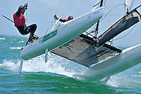 Helm: Euan McNicol / Crew: Lucinda Whitty (AUS)<br /> Racing -Day 4 / Nacra 17<br /> ISAF Sailing World Cup - Melbourne<br /> Sandringham Yacht Club<br /> Thursday 11 December 2014<br /> &copy; Sport the library / Jeff Crow