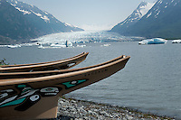 Two Tlingit war canoes are available for tours in the lake formed by the Spencer Glacier. The Alaska Railroad's Spencer Glacier Whistlestop train gives visitors access to hiking, camping and stunning views.