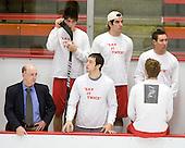 Corey Trivino (BU - 10), Sean Escobedo (BU - 21), Adam Kraus (BU - 32) - Buddy Powers (BU - Assistant Coach), Nick Bonino (BU - 13), Vinny Saponari (BU - 27) - The Boston University Terriers defeated the Harvard University Crimson 6-5 in overtime on Tuesday, November 24, 2009, at Bright Hockey Center in Cambridge, Massachusetts.