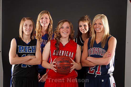 Salt Lake City - High School girls basketball MVP's are Rich's Allie Eastman (1A), Richfield's Jaquel Christensen (2A), Wasatch's Kim Parker (3A), Springville's Ashley Korneberger (4A), and American Fork's Haley Holmstead (5A), Wednesday March 25, 2009.