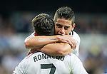 The Real Madrid Players Cristiano Ronaldo and James Rodriguez in a league football match in santiago Bernabeu stadium. 2014/09/13. Madrid. Spain. Samuel de Roman / Photocall3000