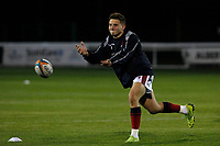 Josh Barton of London Scottish practices passing during the Championship Cup match between London Scottish Football Club and Yorkshire Carnegie at Richmond Athletic Ground, Richmond, United Kingdom on 4 October 2019. Photo by Carlton Myrie / PRiME Media Images