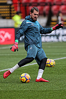 Kristoffer Nordfeldt of Swansea City warms up prior to the game during the Premier League match between Watford and Swansea City at the Vicarage Road, Watford, England, UK. Saturday 30 December 2017