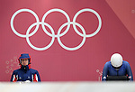 Lizzy Yarnold (GBR, left) and aura Deas (GBR) with the Olympic rings. Womens Skeleton training. Pyeongchang2018 winter Olympics. Olympic sliding centre. Alpensia. Pyeongchang. Republic of Korea. 07/02/2018. ~ MANDATORY CREDIT Garry Bowden/SIPPA - NO UNAUTHORISED USE - +44 7837 394578