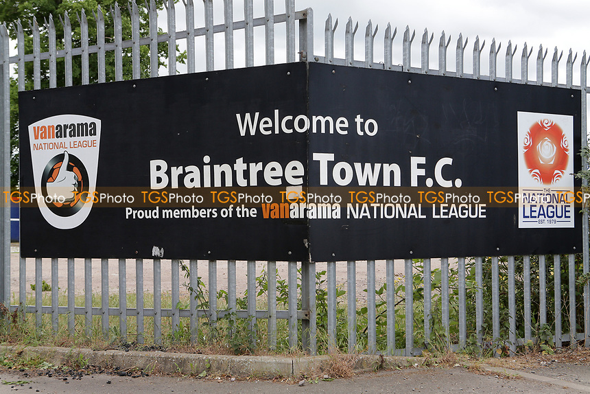 The entrance sign at National League football club Braintree Town FC as football matches are suspended during the COVID-19 pandemic and lockdown