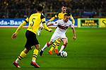 09.03.2019, Signal Iduna Park, Dortmund, GER, 1.FBL, Borussia Dortmund vs VfB Stuttgart, DFL REGULATIONS PROHIBIT ANY USE OF PHOTOGRAPHS AS IMAGE SEQUENCES AND/OR QUASI-VIDEO<br /> <br /> im Bild   picture shows:<br /> Santiago Ascacibar (VfB Stuttgart #6) setzt sich gegen Marco Reus (Borussia Dortmund #11) durch, <br /> <br /> Foto &copy; nordphoto / Rauch