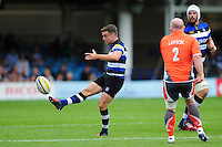 George Ford of Bath Rugby puts boot to ball. Aviva Premiership match, between Bath Rugby and Newcastle Falcons on September 10, 2016 at the Recreation Ground in Bath, England. Photo by: Patrick Khachfe / Onside Images