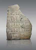 """Prehistoric  petroglyphs, rock carvings, carved by the the prehistoric Camuni people in the Copper Age around the 3rd milleneum BC, Stele """"Cemmo 3"""" found in 1981 from the prehistoric sanctuary Massi dei Cemmo Archaeological Site. Museo Nazionale della Preistoria della Valle Camonica ( National Museum of Prehistory in Valle Cominca ), Lombardy, Italy. Grey Background"""