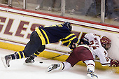 Karl Stollery (Merrimack - 7), Steven Whitney (BC - 21) - The Boston College Eagles defeated the Merrimack College Warriors 4-3 on Friday, October 30, 2009, at Conte Forum in Chestnut Hill, Massachusetts.
