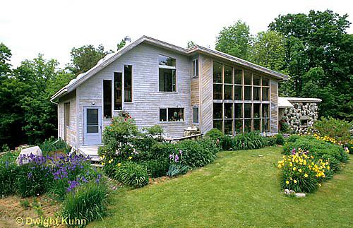 HB05-070x  English Cottage Garden - yellow day lilies, bearded iris - Hemerocallis spp, Iris spp.