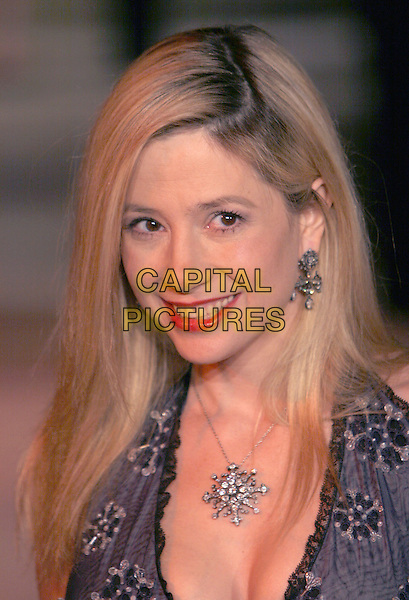 MIRA SORVINO.2006 Vanity Fair Oscar Party held at Morton's, West Hollywood, California, USA.March 5th, 2006.Photo: Charles Harris/AdMedia/Capital Pictures.Ref: CH/ADM.headshot portrait diamond necklace.www.capitalpictures.com.sales@capitalpictures.com.© Capital Pictures.