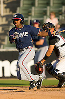 Mykal Jones #24 of the Rome Braves follows through on his swing against the Kannapolis Intimidators at Fieldcrest Cannon Stadium April 11, 2010, in Kannapolis, North Carolina.  Photo by Brian Westerholt / Four Seam Images