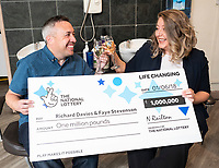 "Pictured: (L-R) Richard Davies and  Faye Stevenson who won the £1 EuroMillions in Talgarth near Brecon, Wales, UK.<br /> Re: A Brecon hairdresser whose car broke down on his way to claim his £1 million EuroMillions UK Millionaire Maker prize, has bought AA membership as one of his first post-win purchases.<br /> Time was also of the essence when winner Richard Davies, who has owned Chop and Change salon in Talgarth for 14 years, dashed out to buy his EuroMillions ticket with just four minutes to spare before the draw closed on Friday, 1 June. <br /> And now after 10 years as a couple, he and partner Faye Stevenson are planning on splashing out on their first holiday together, after matching one of that night's EuroMillions UK Millionaire Maker codes to scoop the life-changing amount. <br /> Nurse Faye, and Richard, 41, both have hectic work schedules. He said: ""I had forgotten to buy my ticket and, as ever, Friday had been frantic in the salon!"