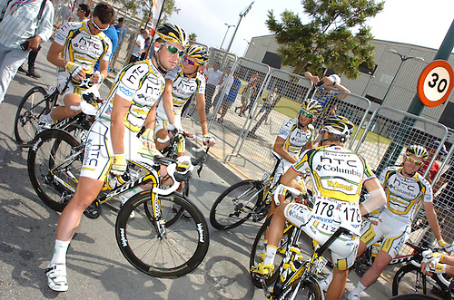 2010, Vuelta a Espana, Stage 04 Malaga - Valdepenas de Jaen, Htc - Columbia 2010, Cavendish Mark and team at the start.