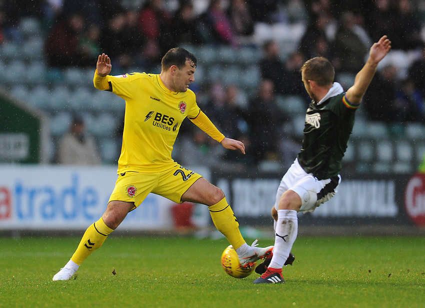 Fleetwood Town's Ross Wallace under pressure from Plymouth Argyle's David Fox<br /> <br /> Photographer Kevin Barnes/CameraSport<br /> <br /> The EFL Sky Bet League One - Plymouth Argyle v Fleetwood Town - Saturday 24th November 2018 - Home Park - Plymouth<br /> <br /> World Copyright © 2018 CameraSport. All rights reserved. 43 Linden Ave. Countesthorpe. Leicester. England. LE8 5PG - Tel: +44 (0) 116 277 4147 - admin@camerasport.com - www.camerasport.com