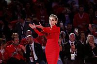 Sharon Stone moved during the ceremony<br /> Roma 02/12/2018. Palazzo dei Congressi. L'attrice Sharon Stone riceve la croce d'oro al merito dalla Croce Rossa Italiana durante il Jump 2018.<br /> Rome July 30th 2018. Actress Sharon Stone receives the Gold Medal of Merit from Italian Red Cross during the event Jump 2018.<br /> Foto Samantha Zucchi Insidefoto