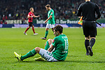 02.11.2019, wohninvest WESERSTADION, Bremen, GER, 1.FBL, Werder Bremen vs SC Freiburg<br /> <br /> DFL REGULATIONS PROHIBIT ANY USE OF PHOTOGRAPHS AS IMAGE SEQUENCES AND/OR QUASI-VIDEO.<br /> <br /> im Bild / picture shows<br /> Milos Veljkovic (Werder Bremen #13) mit Schmerzen nach Schlusspfiff, <br /> <br /> Foto © nordphoto / Ewert