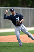 New York Yankees Matt Duran (46) during practice before a minor league spring training game against the Toronto Blue Jays on March 24, 2015 at the Englebert Complex in Dunedin, Florida.  (Mike Janes/Four Seam Images)