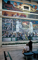 "Diego Rivera's murals, """"Detroit Industry"""", art, culture. Detroit Michigan USA Cultural Center."
