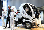 """September 29, 2017, Tokyo, Japan - Japanese automobile venture Exmachina displays two  seater electric vehicle """"Eath-1"""" which has four-wheel steering function at a press preview in Tokyo on Friday, September 29, 2017. Earth-1 enables to transform its body like a robot, designed by Kunio Okawara known as a mechanical designer of Japanese robot animation Gundam.   (Photo by Yoshio Tsunoda/AFLO) LWX -ytd-"""